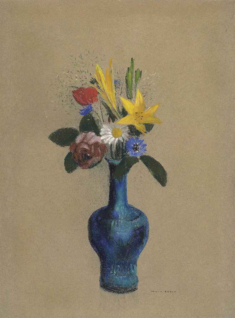 odilon redon 1840 1916 bouquet de fleurs dans un vase bleu christie 39 s. Black Bedroom Furniture Sets. Home Design Ideas