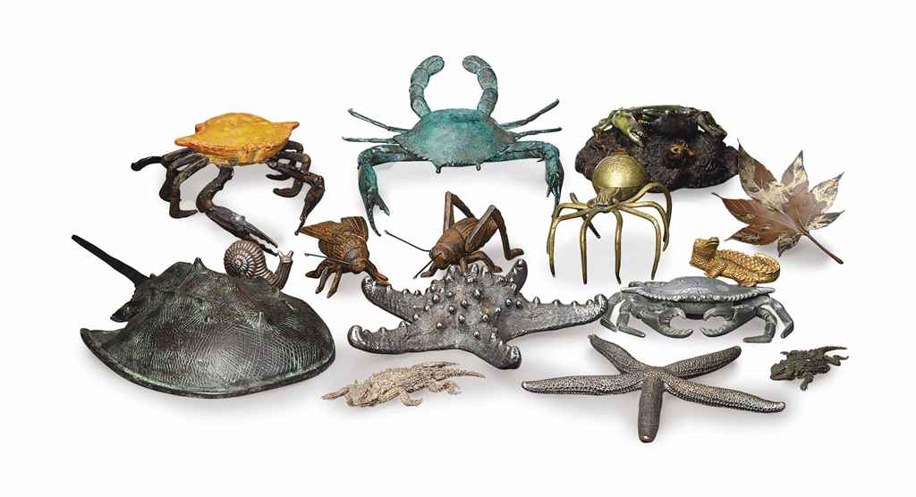 A COLLECTION OF THIRTY-SIX MIXED-METAL FIGURES OF CRUSTACEAN...