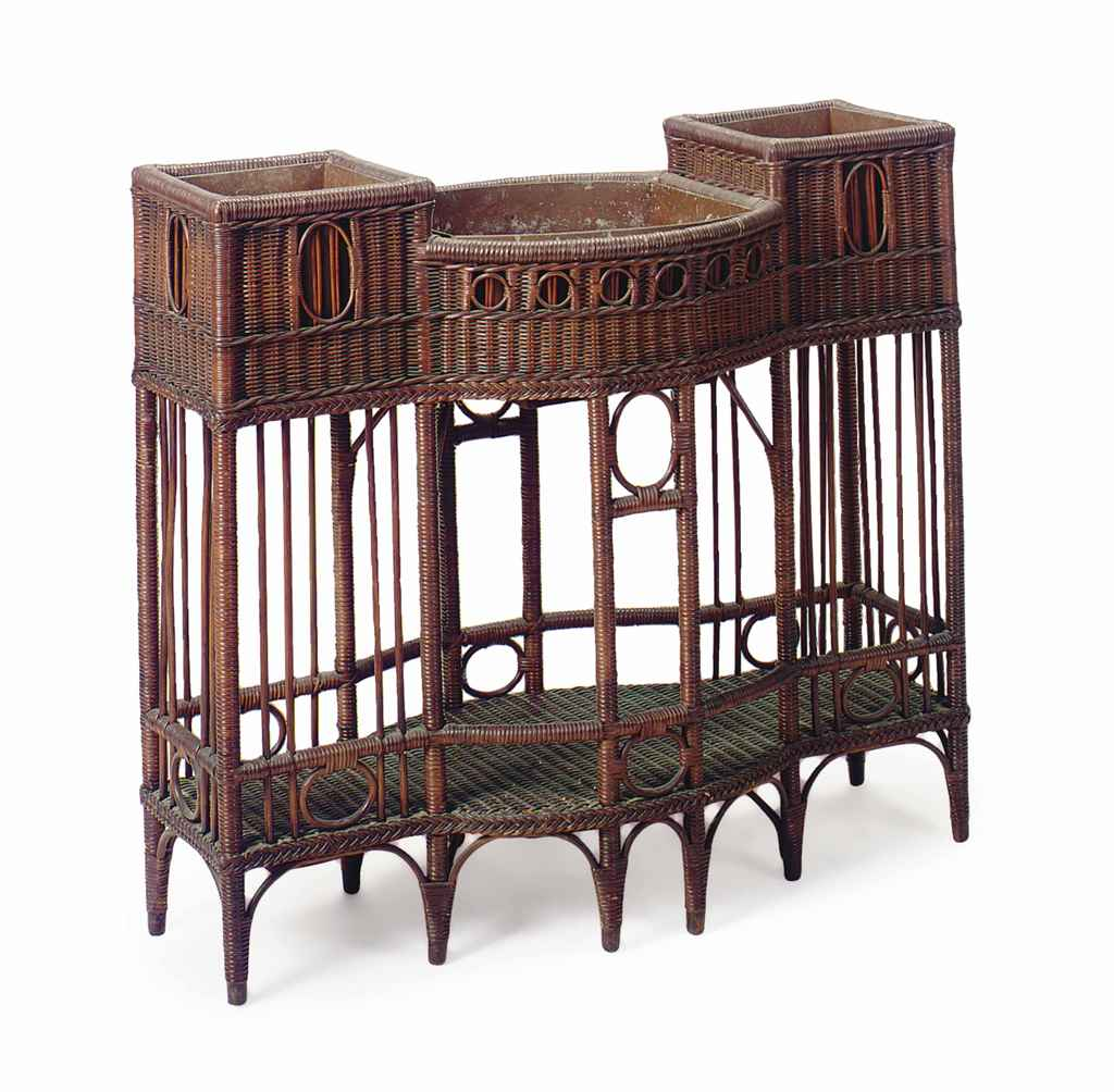An english arts and crafts wicker jardiniere attributed for Arts and crafts furniture makers