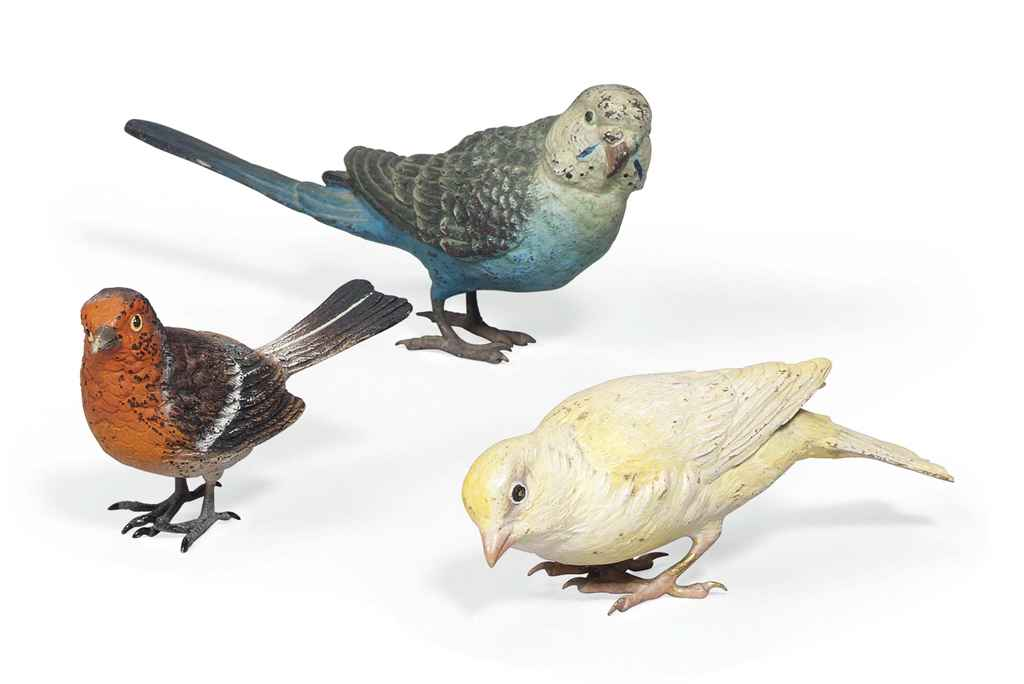 AN AUSTRIAN COLD-PAINTED BRONZE MODEL OF A CANARY