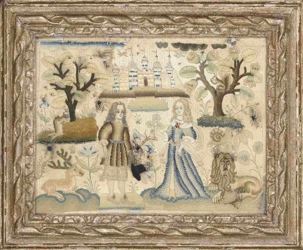 A NEEDLEWORK PICTURE DEPICTING