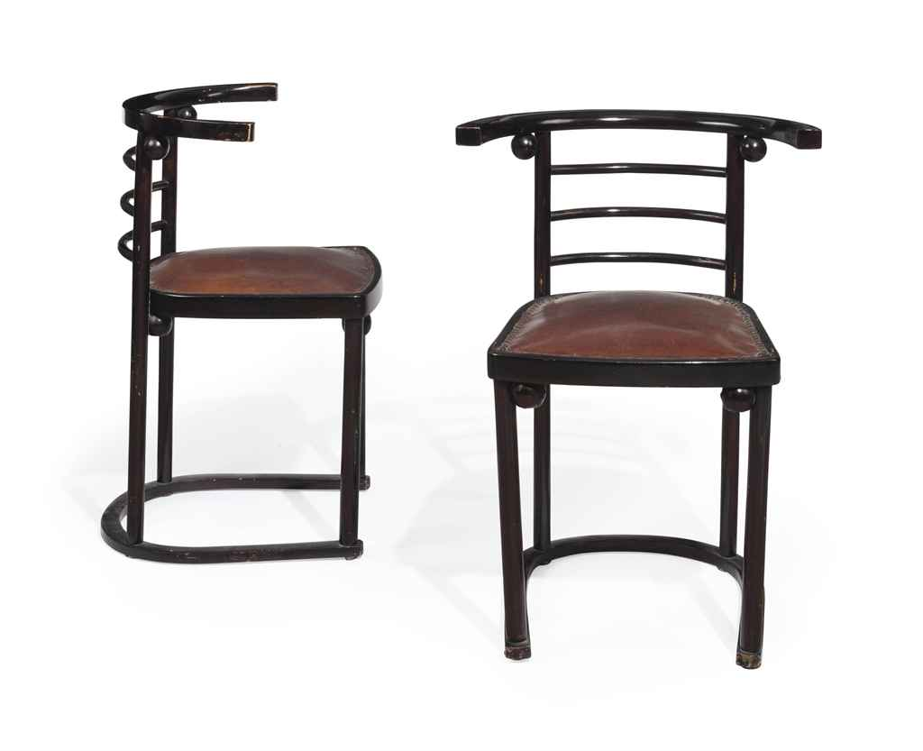 JOSEF HOFFMANN 1870 1956 A PAIR OF LEATHER AND STAINED