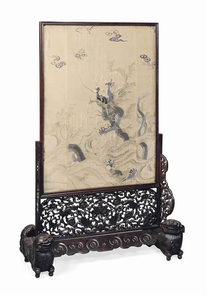 A CHINESE EMBROIDERED SILK AND