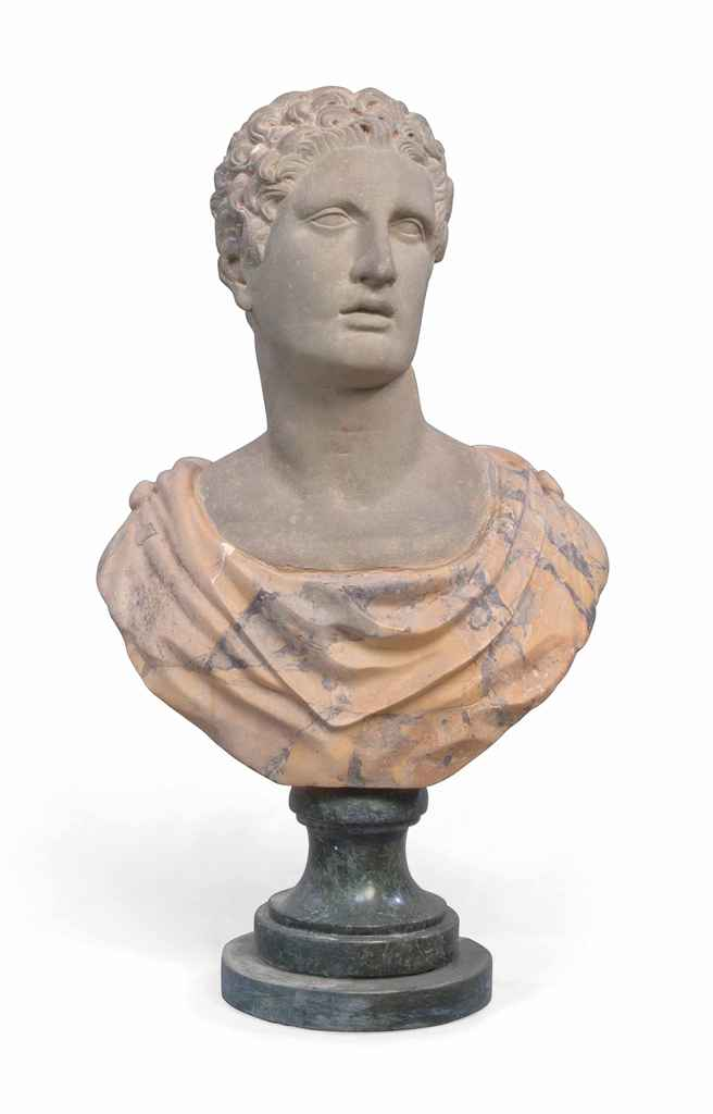 A STONE BUST OF A CLASICAL MAN