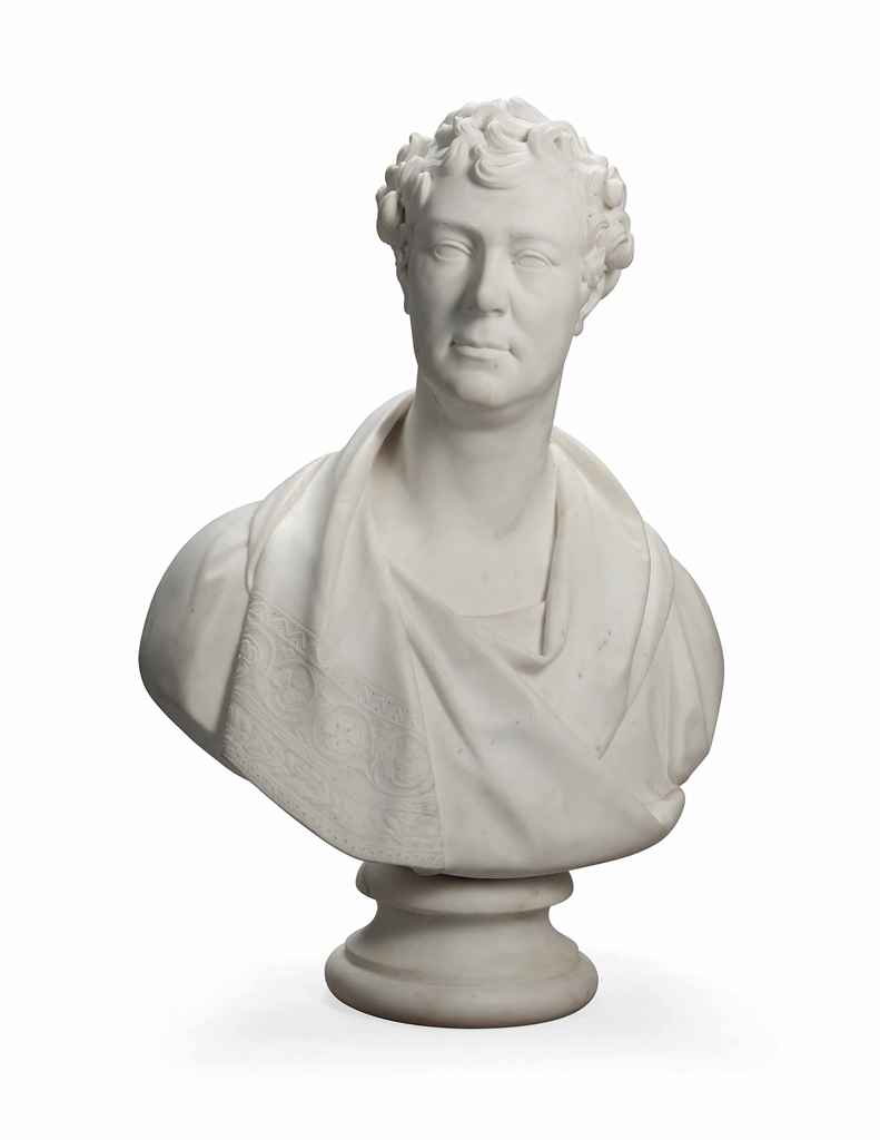 AN ENGLISH WHITE MARBLE BUST O