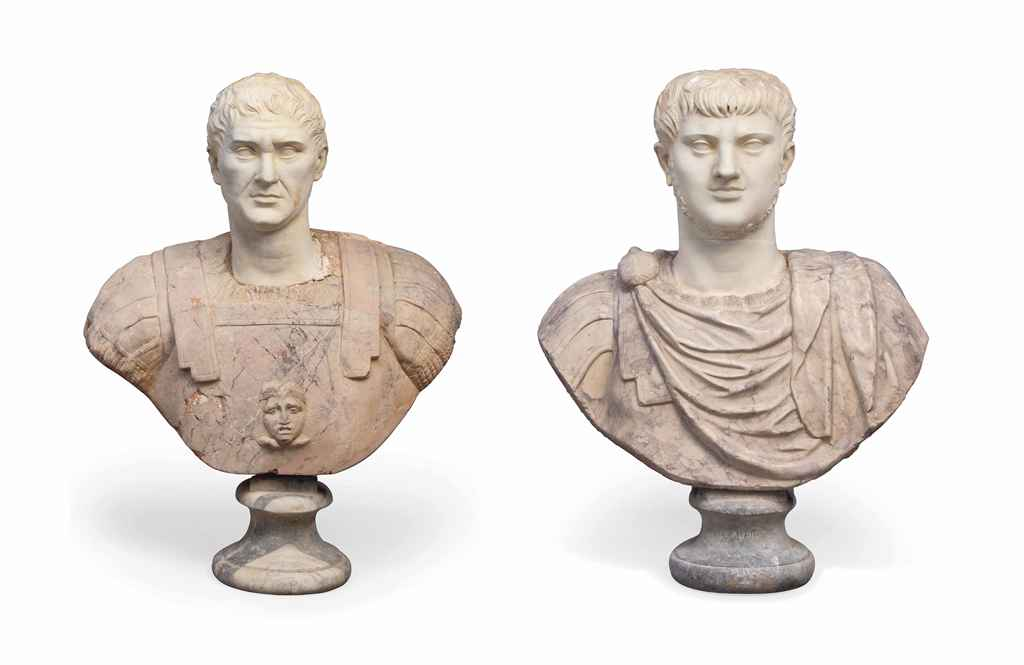 TWO ITALIAN MARBLE BUSTS OF RO
