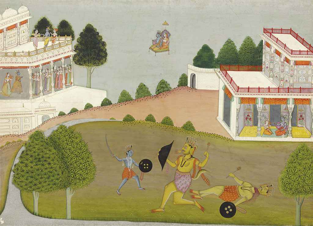 A folio from the Bhagavata Purana: Krishna slays the demon N...