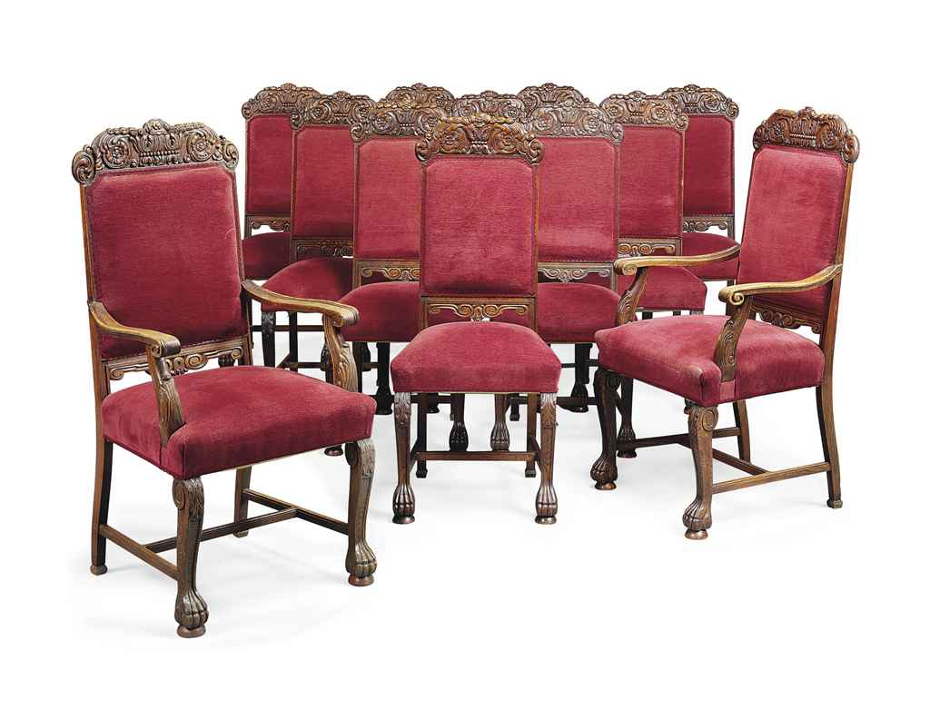 A set of twelve oak dining chairs of italian baroque for Baroque style dining chairs