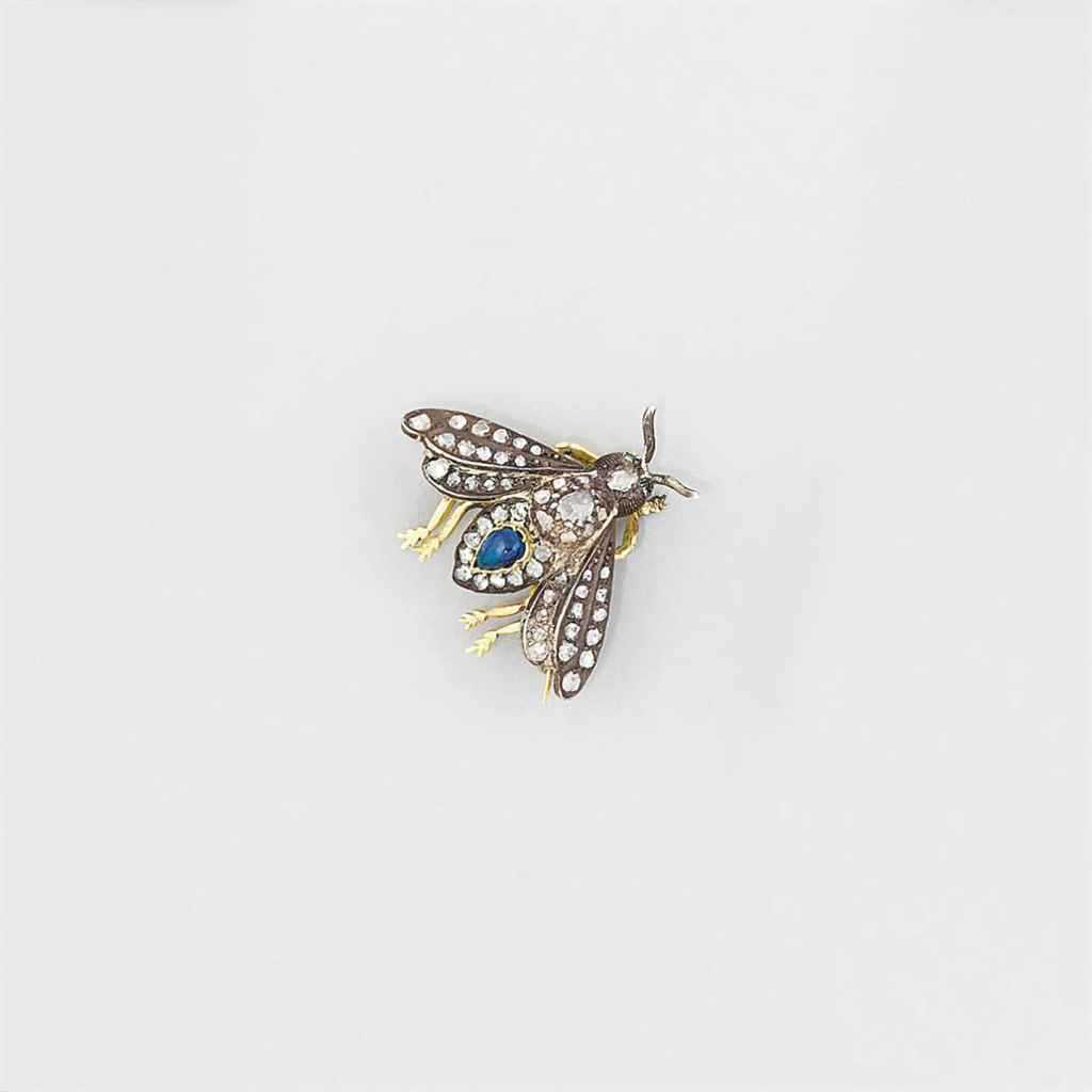 A sapphire and diamond insect