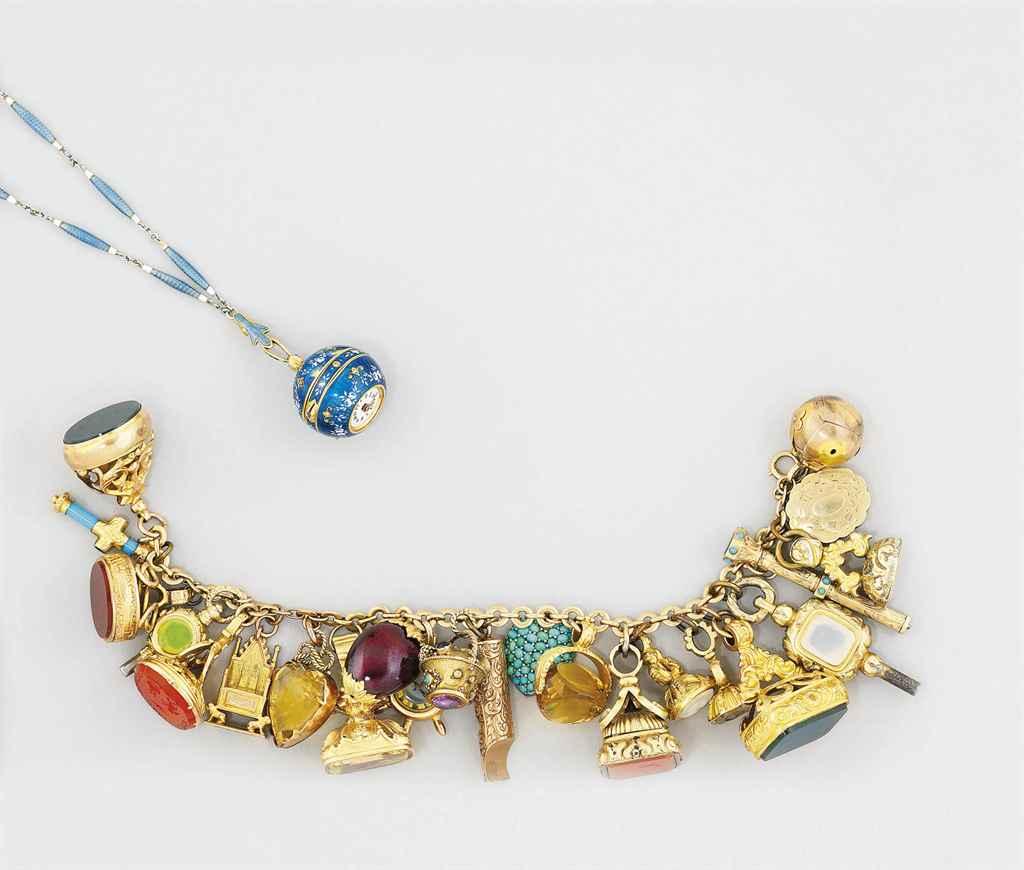 A charm bracelet and a ball wa