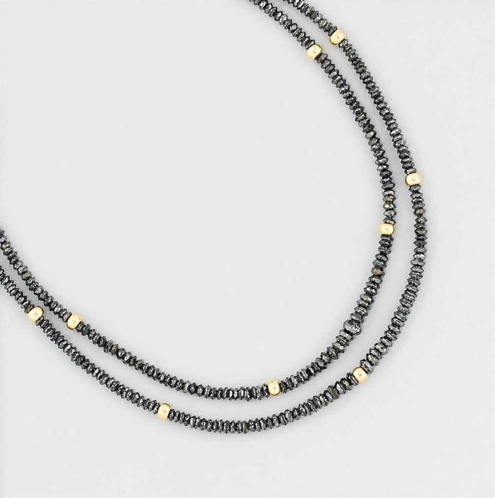 A coloured diamond necklace