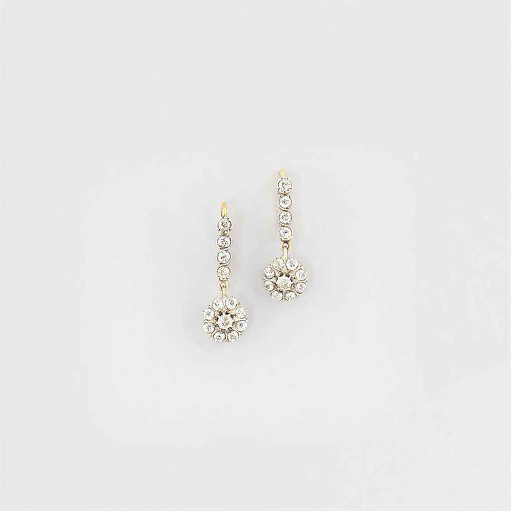 A pair of 19th century diamond