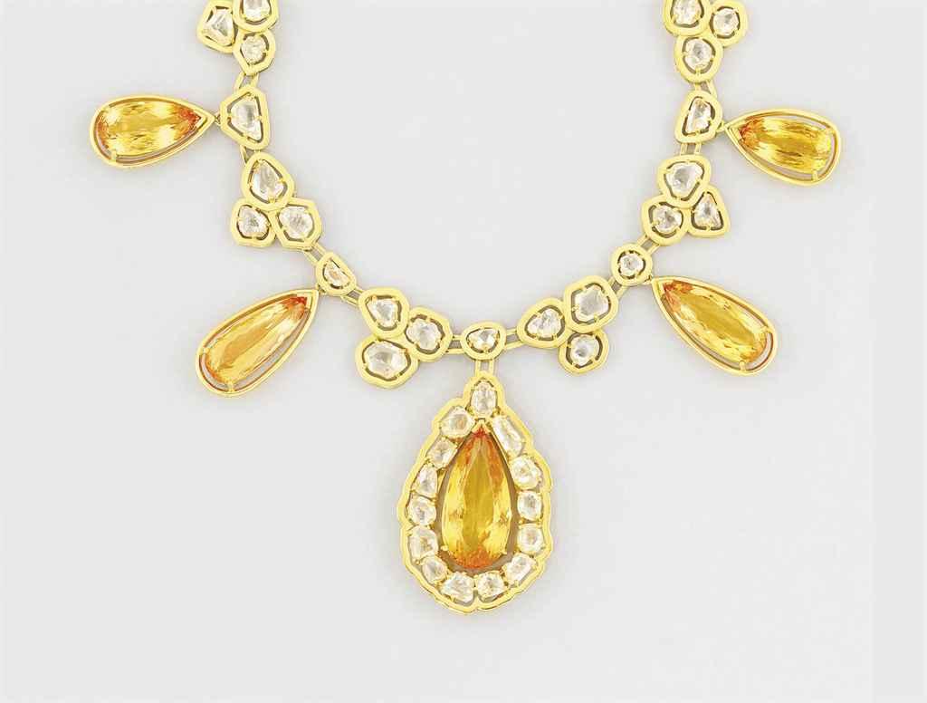 A topaz and diamond necklace a