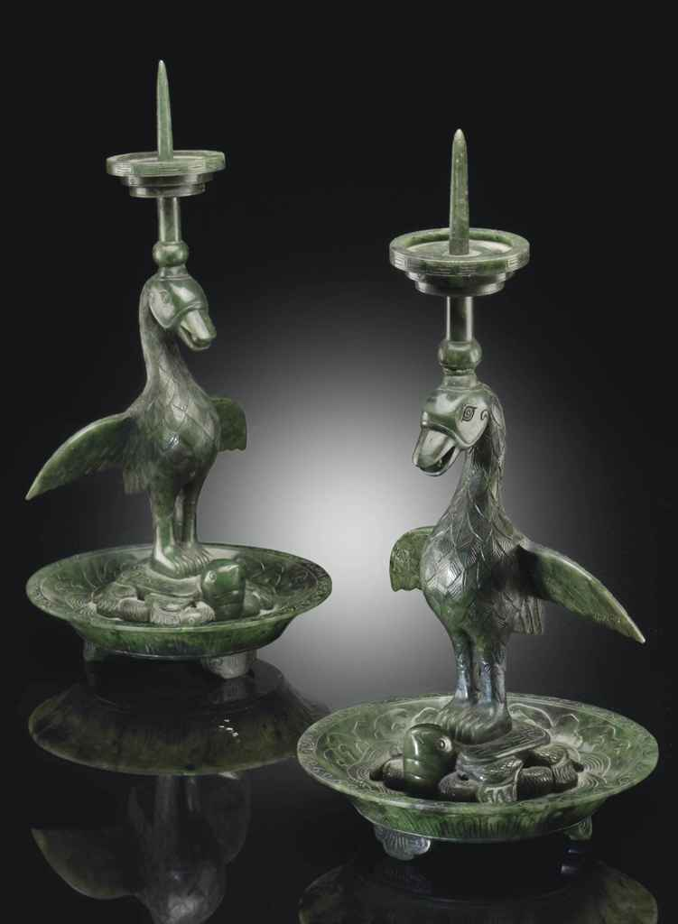 A PAIR OF GREEN JADE BIRD-FORM