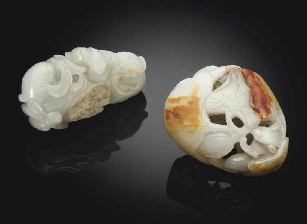 TWO SMALL WHITE JADE CARVINGS