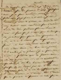 VICTOR HUGO. Lettre autographe signée Victor à Adèle Foucher, datée mercredi. 2 pages sur un feuillet recto verso (119 x 92 mm). S.d. [31 juillet 1822 ?]. Encre sur papier.