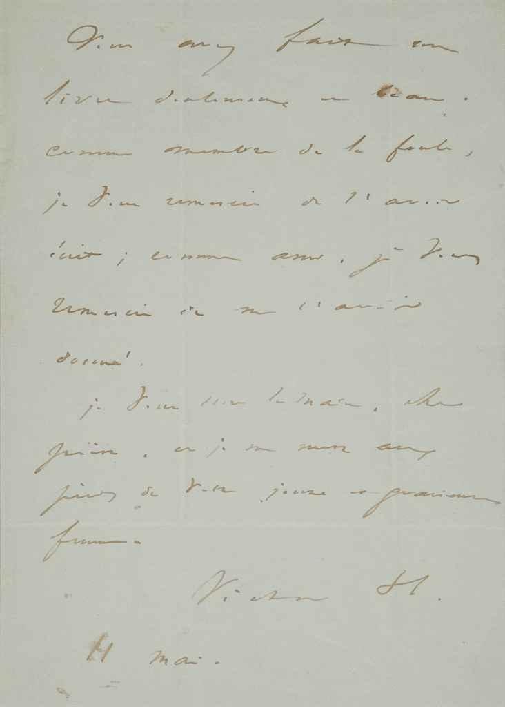 VICTOR HUGO Lettre autographe, signée