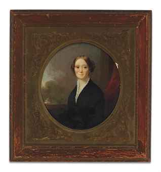 [CATLIN, George]. -- LINEN, George (1802-1888). Oval portrait of Mrs. Clara Bartlett Gregory Catlin. Circa 1840. Oil on linen, mounted on masonite, framed. Sight 140 x 130 mm.