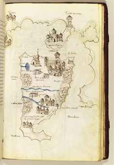 BUONDELMONTI, Cristoforo (Florence c. 1385-not before 1430 probably Greece). Liber Insularum Archipelagi. ILLUMINATED MANUSCRIPT ON VELLUM, in Latin. [Italy, perhaps Florence, c. 1450].