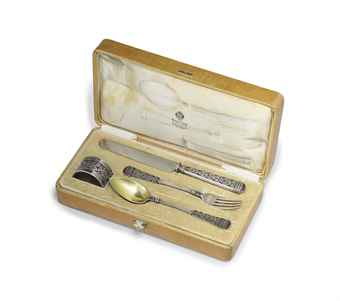A SILVER-GILT AND EN PLEIN ENAMEL PART DESSERT FLATWARE SERVICE