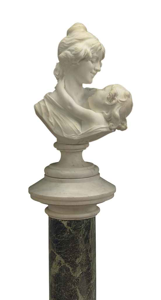 AN ITALIAN WHITE MARBLE GROUP OF A MOTHER AND CHILD, ON PEDE...