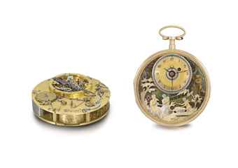 François Nicole. An exceptionally fine, early and possibly unique 18K two gold two-train openface quarter repeating musical watch with musical alarm and polychrome enamel and varicoloured gold automaton scene