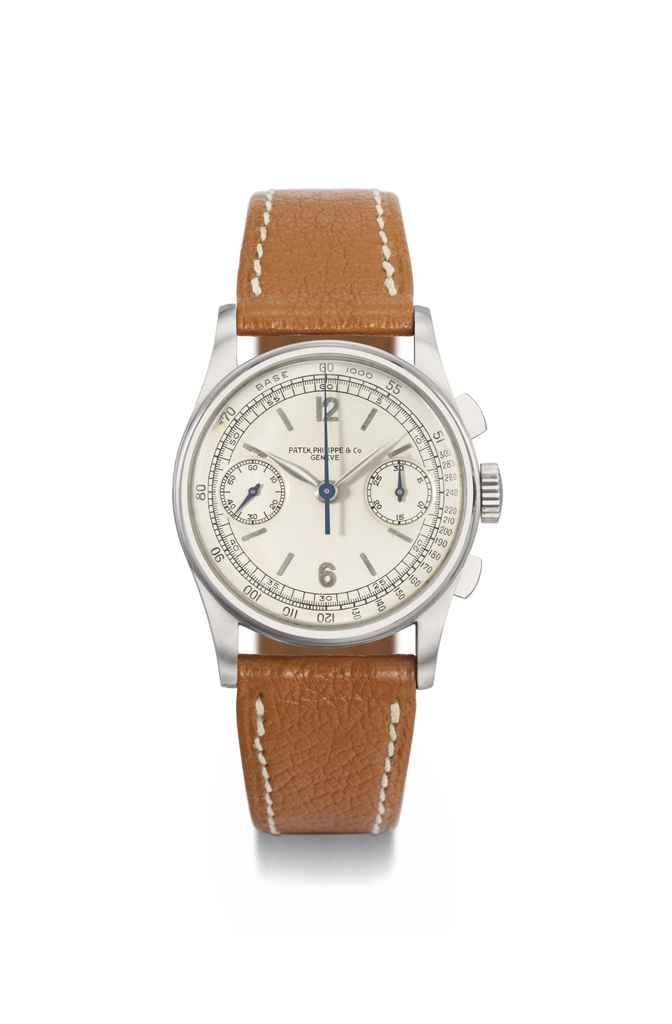 Patek Philippe A fine and rare stainless steel chronograph w...