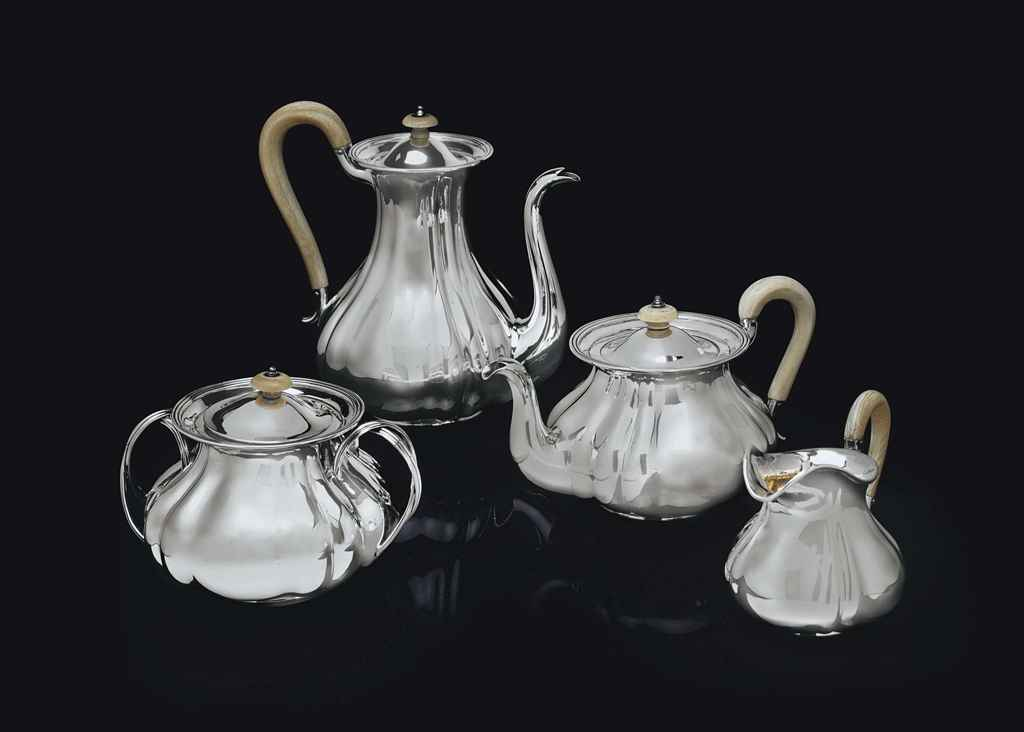 A RUSSIAN SILVER TEA AND COFFEE SERVICE