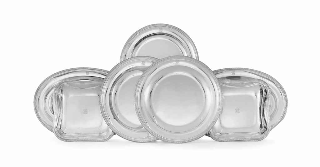 A SET OF EIGHT FRENCH SILVER SERVING DISHES