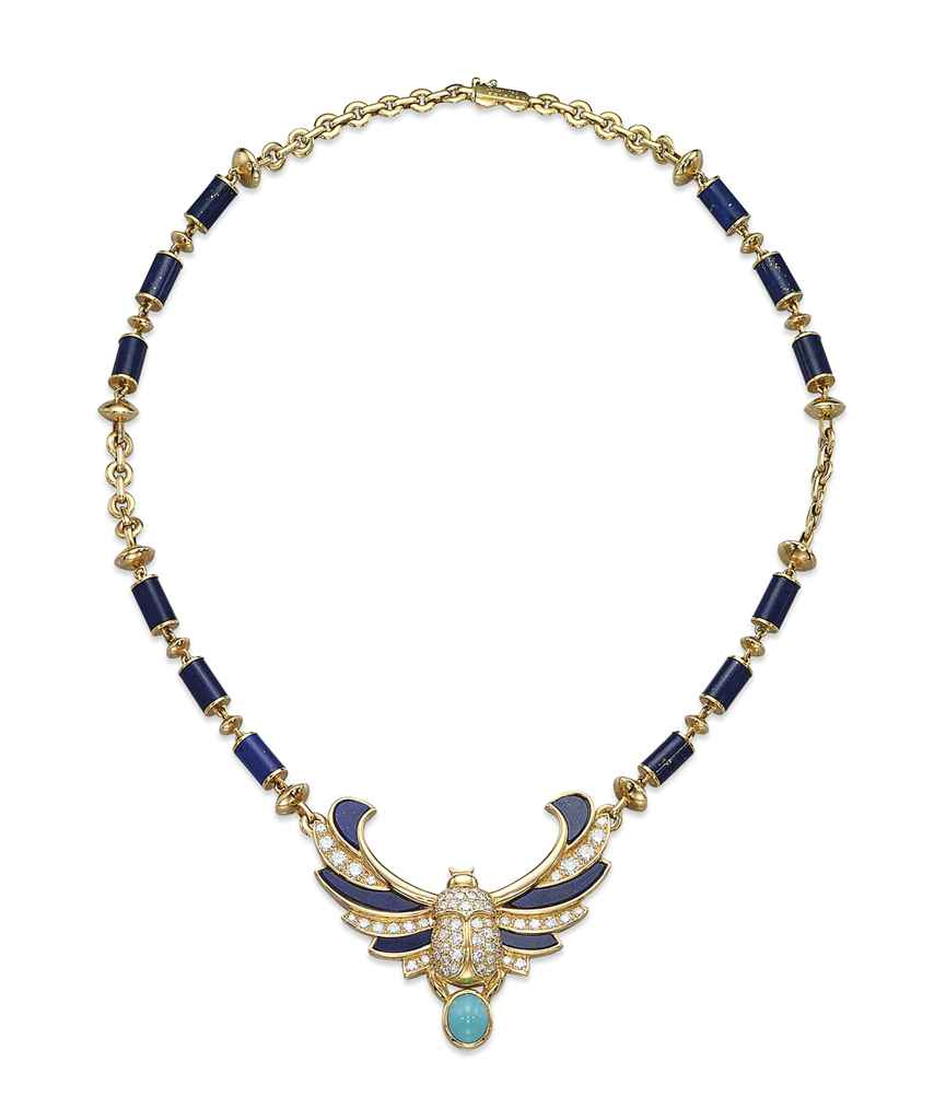 A LAPIS LAZULI, TURQUOISE AND DIAMOND NECKLACE, BY CARTIER ...