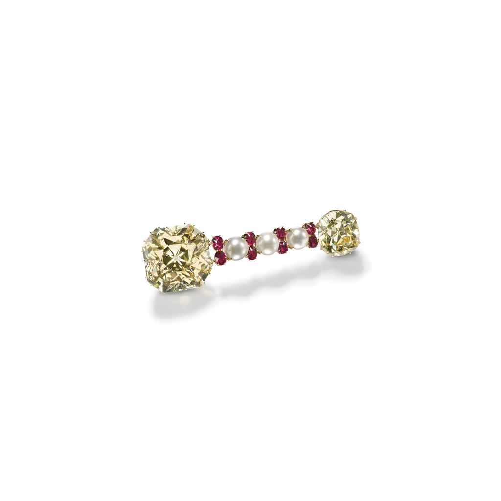 AN IMPORTANT COLOURED DIAMOND, RUBY AND CULTURED PEARL BROOC...
