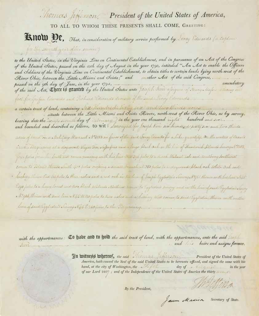 JEFFERSON, Thomas Partly printed document signed (