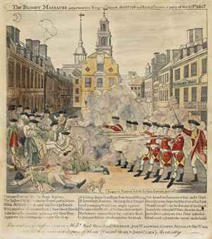REVERE, Paul (1734-1818). The Bloody Massacre perpetrated in King Street, BOSTON, on March 5<SUP>t</SUP><SUP>h</SUP> 1770, by Party of the 29<SUP>t</SUP><SUP>h</SUP> REG<SUP>t</SUP>. Boston: Engrav'd Printed & Sold by Paul Revere, March 1770.