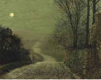 A country lane by moonlight