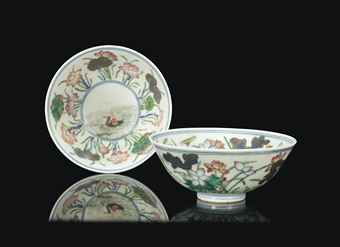 TWO SIMILAR CHINESE FAMILLE ROSE 'DUCK AND LOTUS' BOWLS