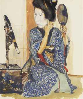 Geisha in front of a mirror, Kyoto