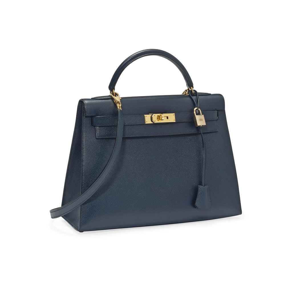 A NAVY BLUE LEATHER 'KELLY' BA