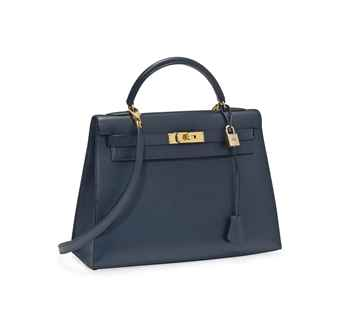 A NAVY BLUE LEATHER 'KELLY' BAG