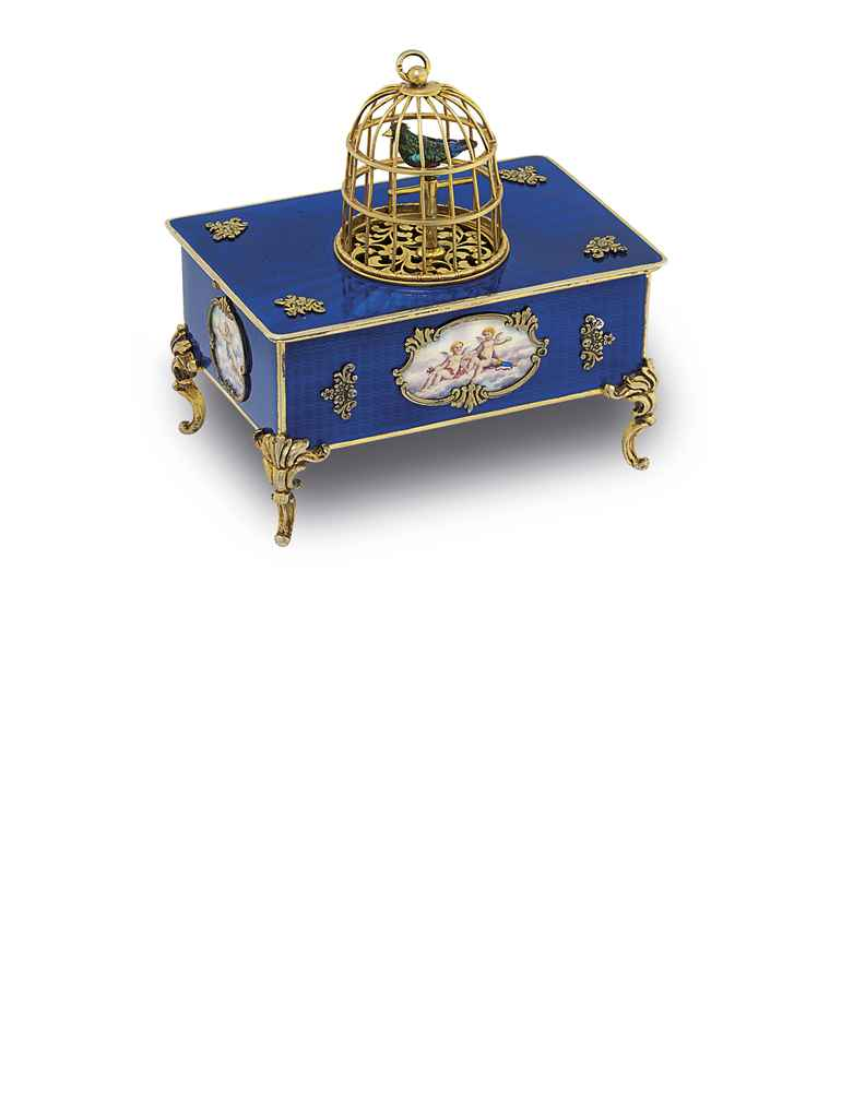 SWISS A FINE AND RARE SILVER GILT AND ENAMEL SINGING BIRD BO...