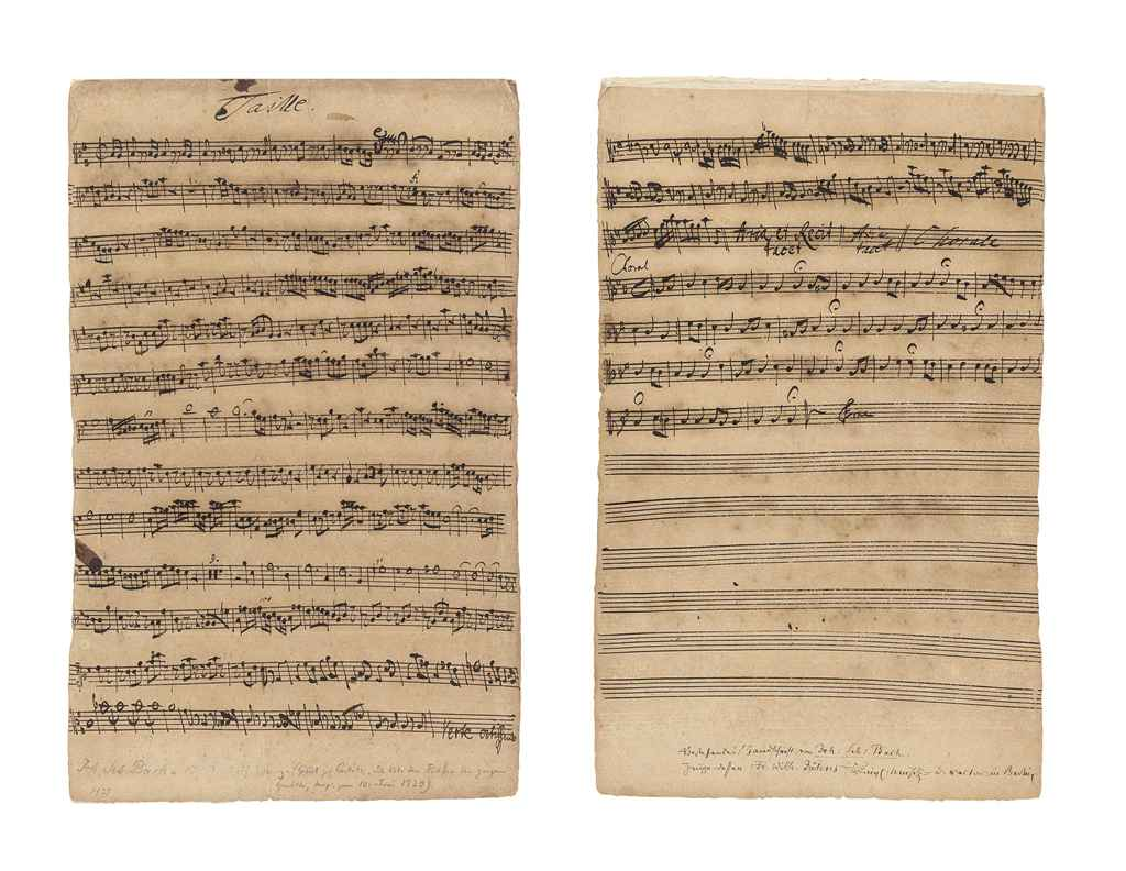 BACH, Johann Sebastian (1685-1750) The manuscript 'Taille' [...