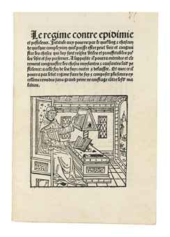 LE FORESTIER, Thomas (d. before 1513). Contre pestilentiam: Le régime contre epidemie et pestilence. Rouen: Jacques Le Forestier, 21 October 1495.