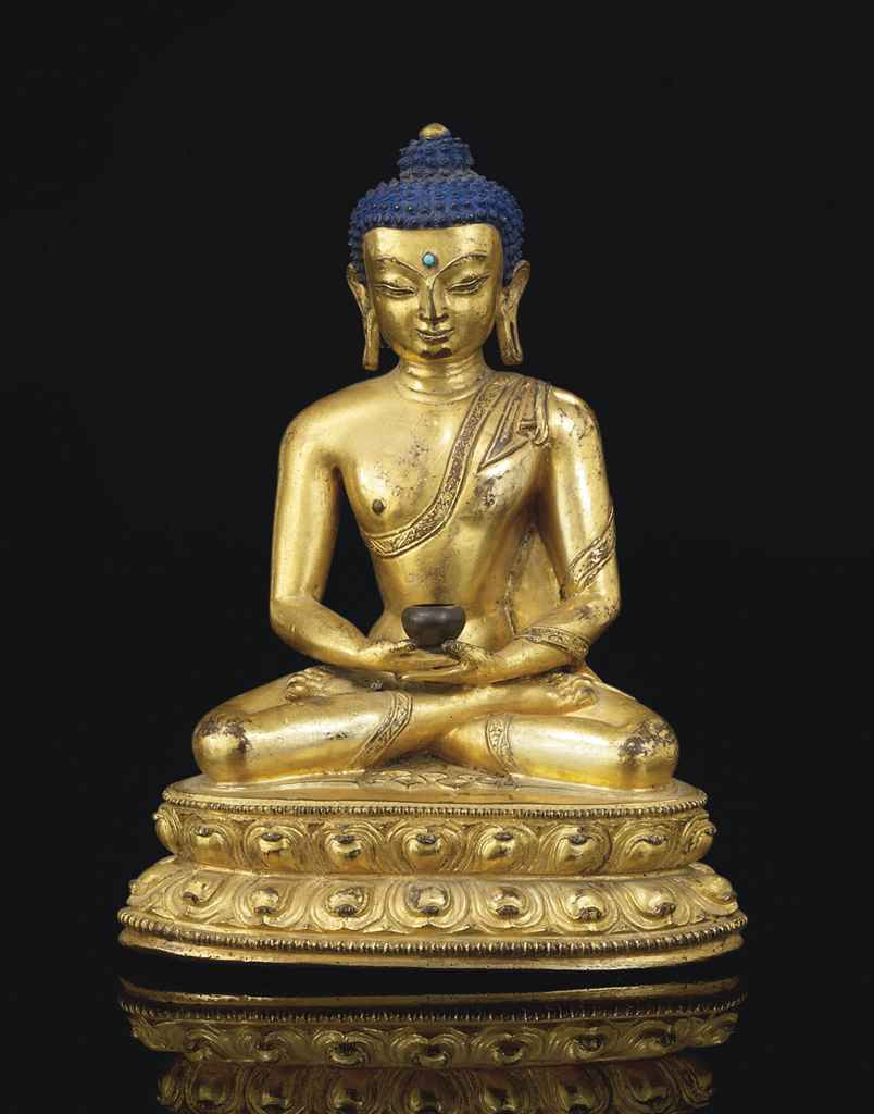 statue de bouddha amitabha en bronze dore tibet xveme. Black Bedroom Furniture Sets. Home Design Ideas