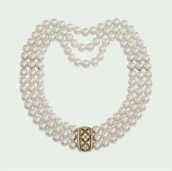 A CULTURED PEARL AND DIAMOND NECKLACE, BY CARTIER