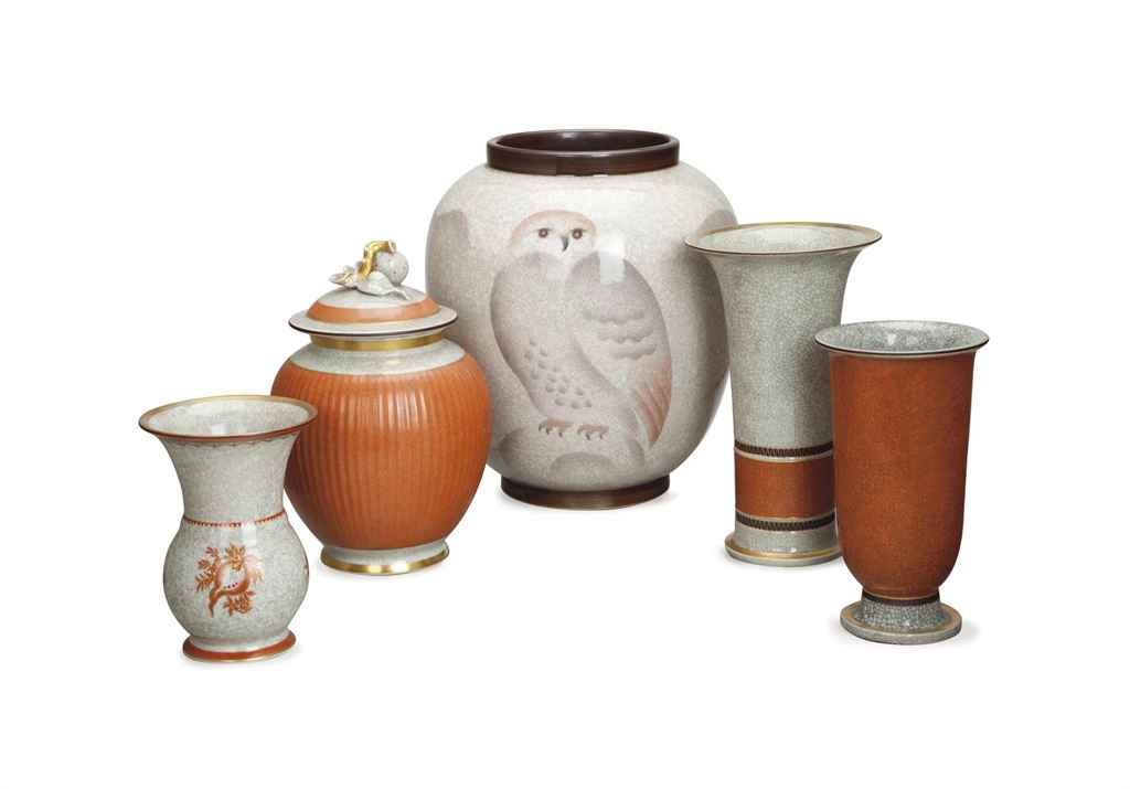 A DANISH PORCELAIN CRACKLE GLAZED VASE DECORATED WITH AN OWL...