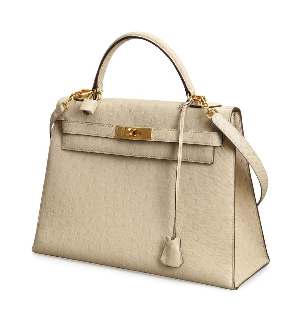 A CREAM OSTRICH 'KELLY' BAG,