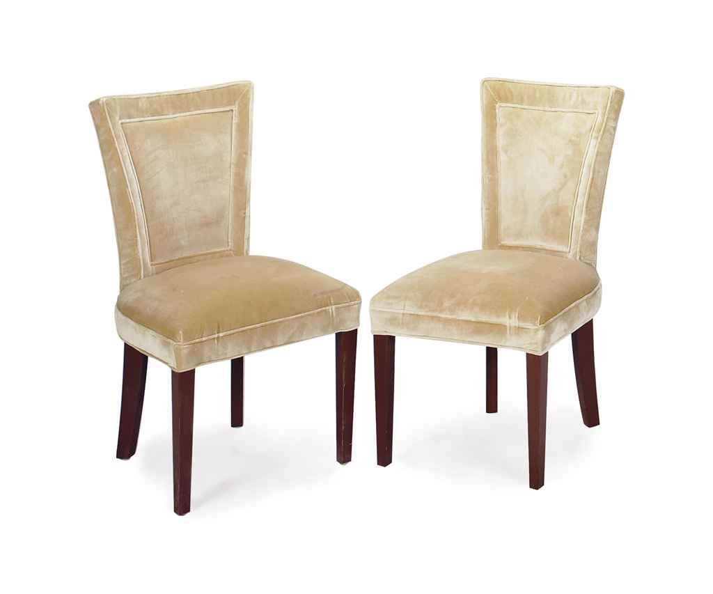 a set of six brown painted and velvet dining chairs