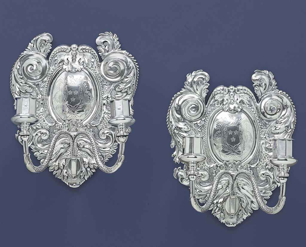 Francis Wall Lamp Antique Silver : A PAIR OF VICTORIAN SILVER TWO-LIGHT WALL SCONCES , MARK OF FRANCIS BOONE THOMAS, LONDON, 1878 ...