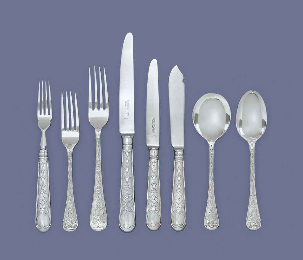 AN ELIZABETH II SILVER TABLE SERVICE