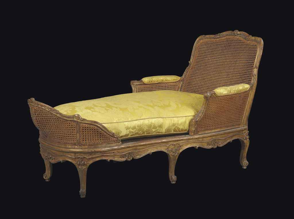 Chaise longue d 39 epoque louis xv estampille de michel for Chaise longue de salon
