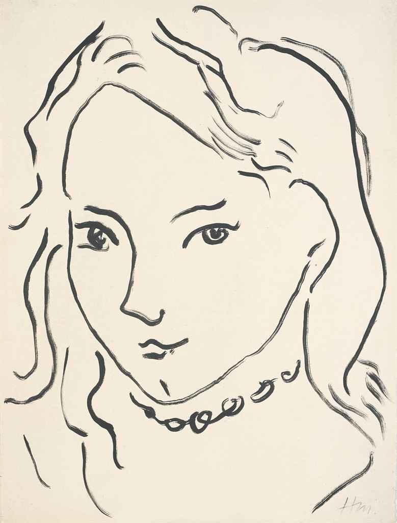 Line Drawing By Matisse : Henri matisse portrait de marguerite